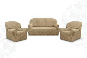 """Комплект чехлов """"Престиж"""" из 3х предметов (трехместный диван и 2 кресла)без оборки,10096 капучино"""
