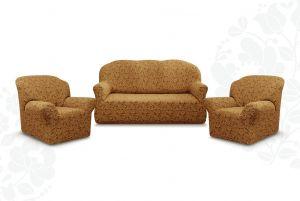 """Комплект чехлов """"Престиж"""" из 3х предметов (трехместный диван и 2 кресла)без оборки,10096 кофе с молоком"""