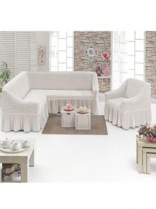 Чехол д/мягкой мебели Угловой 2-х пр.(3+1) кресла 1шт с оборкой (1шт.)  ,натуральный