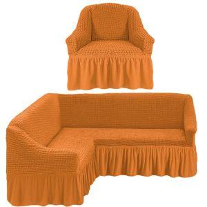 Чехол д/мягкой мебели Угловой 2-х пр.(3+1) кресла 1шт с оборкой (1шт.)  ,рыжий