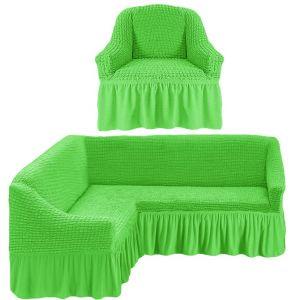 Чехол д/мягкой мебели Угловой 2-х пр.(3+1) кресла 1шт с оборкой (1шт.)  ,салатовый