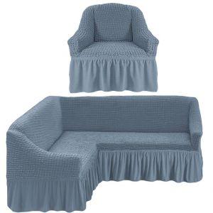 Чехол д/мягкой мебели Угловой 2-х пр.(3+1) кресла 1шт с оборкой (1шт.)  ,серый