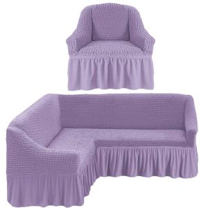 Чехол д/мягкой мебели Угловой 2-х пр.(3+1) кресла 1шт с оборкой (1шт.)  ,сирень