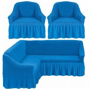 Чехол д/мягкой мебели Угловой 3-х пр.(3+1) кресла 2 шт с оборкой (1шт.)  ,Бирюзовый