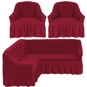 Чехол д/мягкой мебели Угловой 3-х пр.(3+1) кресла 2 шт с оборкой (1шт.)  ,Бордовый