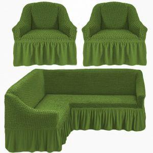 Чехол д/мягкой мебели Угловой 3-х пр.(3+1) кресла 2 шт с оборкой (1шт.)  ,Зеленый