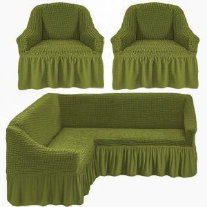 Чехол д/мягкой мебели Угловой 3-х пр.(3+1) кресла 2 шт с оборкой (1шт.)  ,молодая зелень