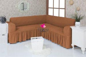 Чехол на диван угловой 2+3 универсальный с оборкой (1шт.)  , Коричневый