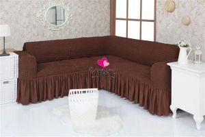 Чехол на диван угловой 2+3 универсальный с оборкой (1шт.)  , Шоколад