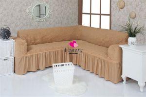 Чехол на диван угловой 2+3 универсальный с оборкой (1шт.)  ,медовый