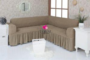 Чехол на диван угловой 2+3 универсальный с оборкой (1шт.)  ,темно-оливковый