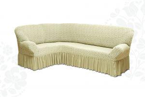 Чехол на диван угловой Престиж универсальный ,Ваниль v10