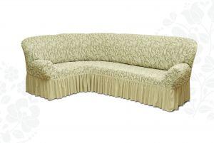 Чехол на диван угловой Престиж универсальный ,Ваниль v8
