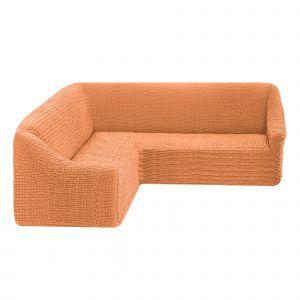 Чехол на угловой диван без оборки универсальный ,коралловый