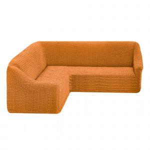 Чехол на угловой диван без оборки универсальный ,Рыже-коричневый