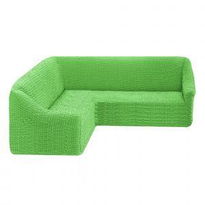 Чехол на угловой диван без оборки универсальный ,салатовый