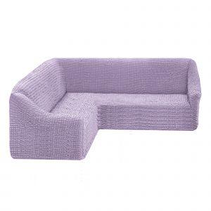 Чехол на угловой диван без оборки универсальный ,сиреневый