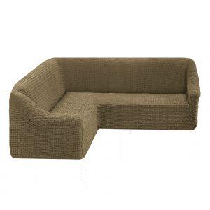 Чехол на угловой диван без оборки универсальный ,темно-оливковый