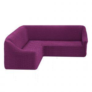 Чехол на угловой диван без оборки универсальный ,фиолетовый