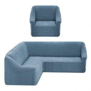 Чехол на угловой диван без оборки универсальный+1 кресло,голубой