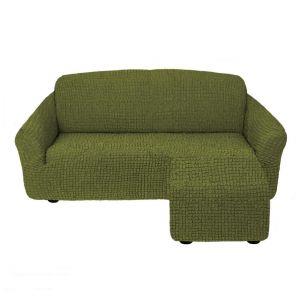 Чехол для углового дивана оттоманка без оборки  левый,Зеленый