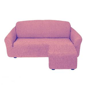 Чехол для углового дивана оттоманка без оборки левый,сухая роза