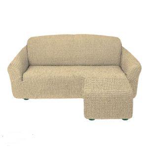 Чехол для углового дивана оттоманка без оборки правый,бежевый