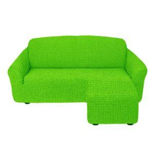 Чехол для углового дивана оттоманка без оборки правый,салатовый