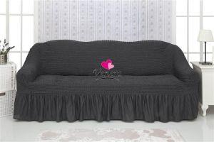 Чехол на 2-х местный диван с оборкой,антрацит