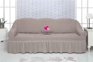 Чехол на 2-х местный диван с оборкой,какао