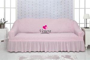 Чехол на 2-х местный диван с оборкой,розовый