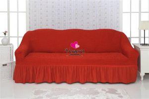 Чехол на 2-х местный диван с оборкой,терракотовый