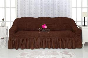 Чехол на 2-х местный диван с оборкой,Шоколадныи?