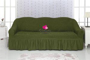 Чехол на 3х-местный диван с оборкой (1шт.)  ,Зеленый