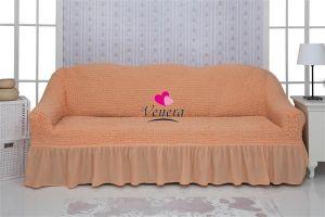 Чехол на 3х-местный диван с оборкой (1шт.)  ,коралловый