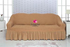 Чехол на 3х-местный диван с оборкой (1шт.)  ,песочный