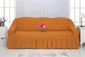 Чехол на 3х-местный диван с оборкой (1шт.)  ,рыжий
