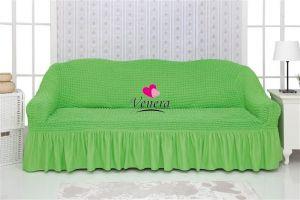 Чехол на 3х-местный диван с оборкой (1шт.)  ,салатовый