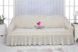Чехол на 3х-местный диван с оборкой (1шт.) , Кремовый