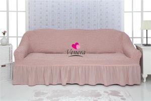 Чехол на 3х-местный диван с оборкой (1шт.) , Сухая роза