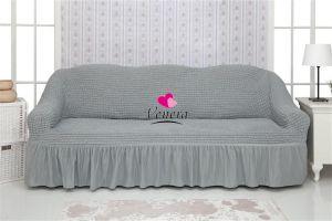 Чехол на 3х-местный диван с оборкой (1шт.) ,Серый