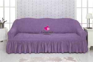 Чехол на 3х-местный диван с оборкой (1шт.) ,сиреневый