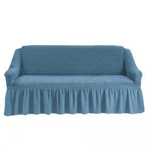 Чехол на 4-х-местный диван с оборкой (1шт.),Морская волна
