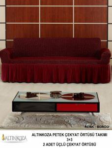 Чехол на трехместный диван Двойные Соты с оборкой ,BORDO