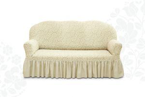 Чехол на трехместный диван Престиж с оборкой ,10029 ваниль