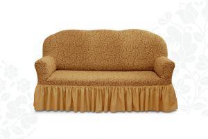 Чехол на трехместный диван Престиж с оборкой ,10029 кофе с молоком