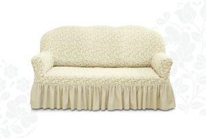 Чехол на трехместный диван Престиж с оборкой ,10034 ваниль