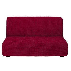 Чехол на диван без подлокотников бордовый