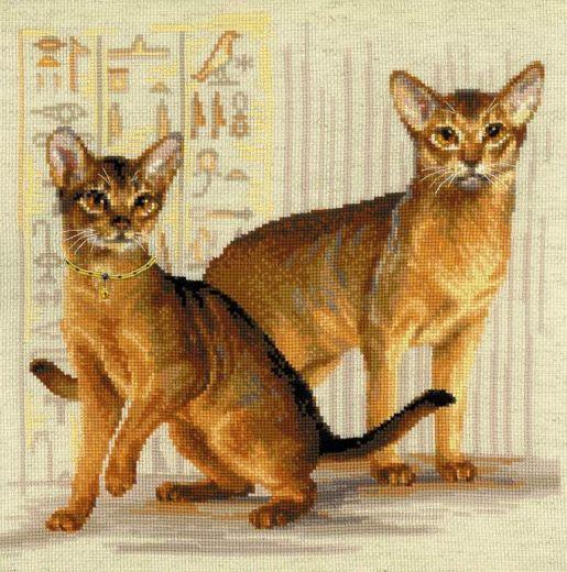 Набор для вышивания крестом Абиссинские кошки №1671 фирма Риолис