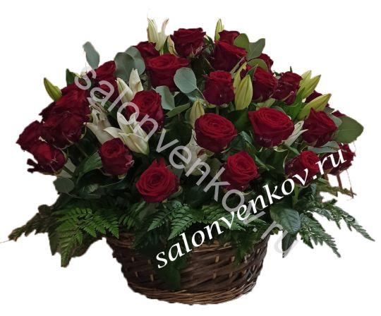 Траурная корзина из живых цветов N97 высота 80см
